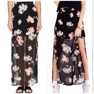 Minkpink black floral Moonflower slit maxi skirt